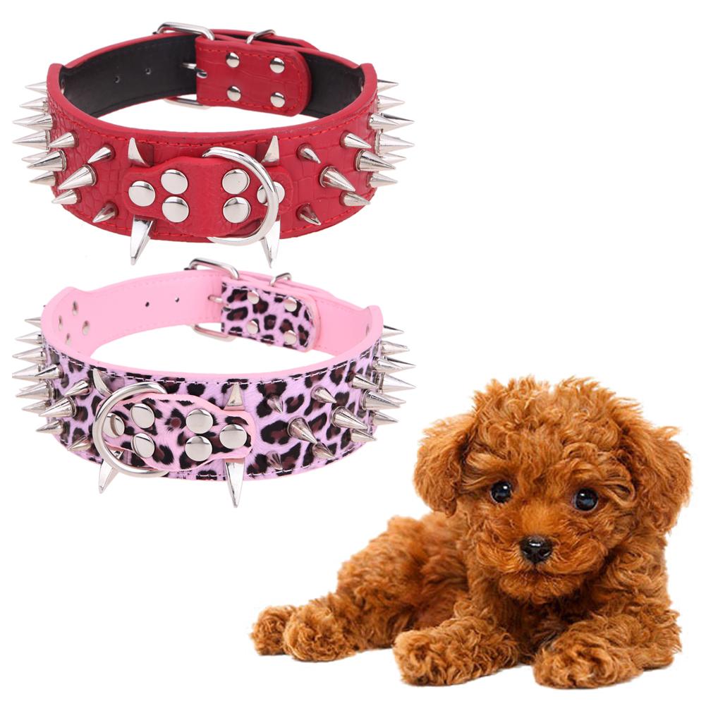 pink, Red Sharp Diamond heart shaped Spiked Studded PU Leather Dog Collar five holes for Large Dog Pet Pitbull Mastiff(China (Mainland))