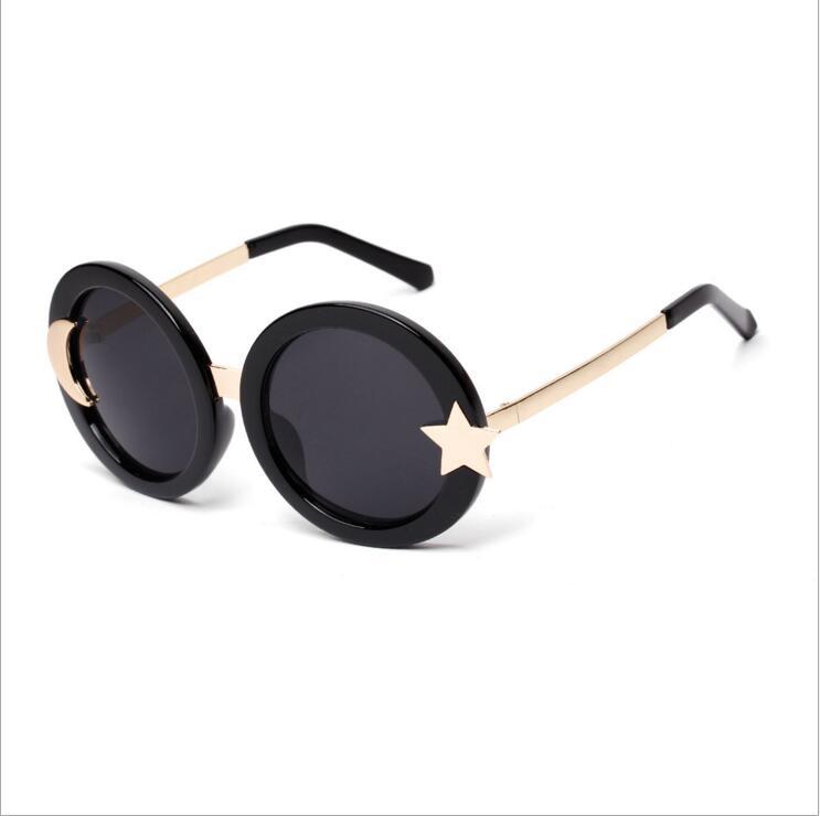 2016 Summer Moon Stars Round Retro Sunglasses Glasses New Fashion Women Brand Designer Eyewear oculos De Sol Feminino(China (Mainland))