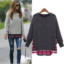 Stylist Women Long Sleeve Casual Knit Crew Neck Pullover Loose Sweater Knitwear(China (Mainland))