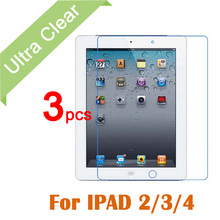 3pcs/lot For Apple iPad 2 3 4 Tablet PC Transparent Screen Protective Film Clear HD Glossy LCD Screen Protector + cleaning cloth