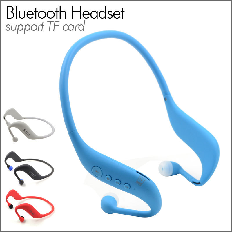 Sports Bluetooth V4.0 Neckband Stereo Headphones Hands-free Headset Support TF Card with Mic for Smartphones<br><br>Aliexpress