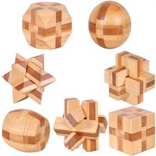 7pcs/lot 3D Eco-friendly bamboo wooden toys IQ brain teaser burr adults puzzle educational kids unlocking games(China (Mainland))