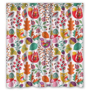 originale tissu salle de bains rideau personnalis colorful for t mignon hibou squirel et fleur. Black Bedroom Furniture Sets. Home Design Ideas