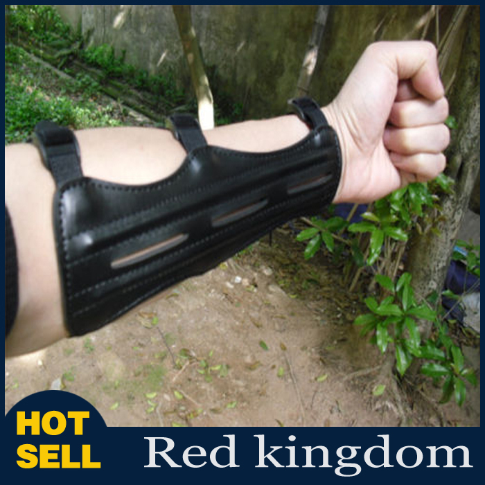 Black 9inch Length With 3 Strap PU Leather Shooting Archery Arm Guard Protection Safe Guard With