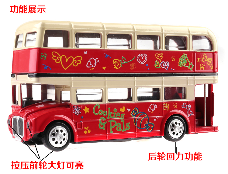 Classic double-decker London bus model alloy buses children's toys model car red car model sound and light car styling kids toys(China (Mainland))