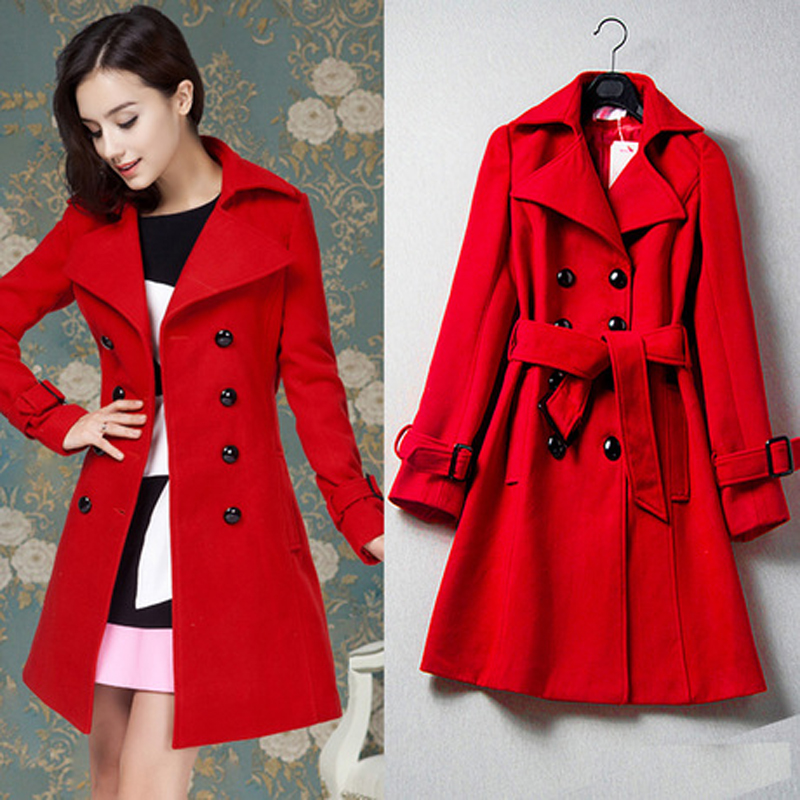 Womens long red trench coat – Fashionable jacket 2017 photo blog