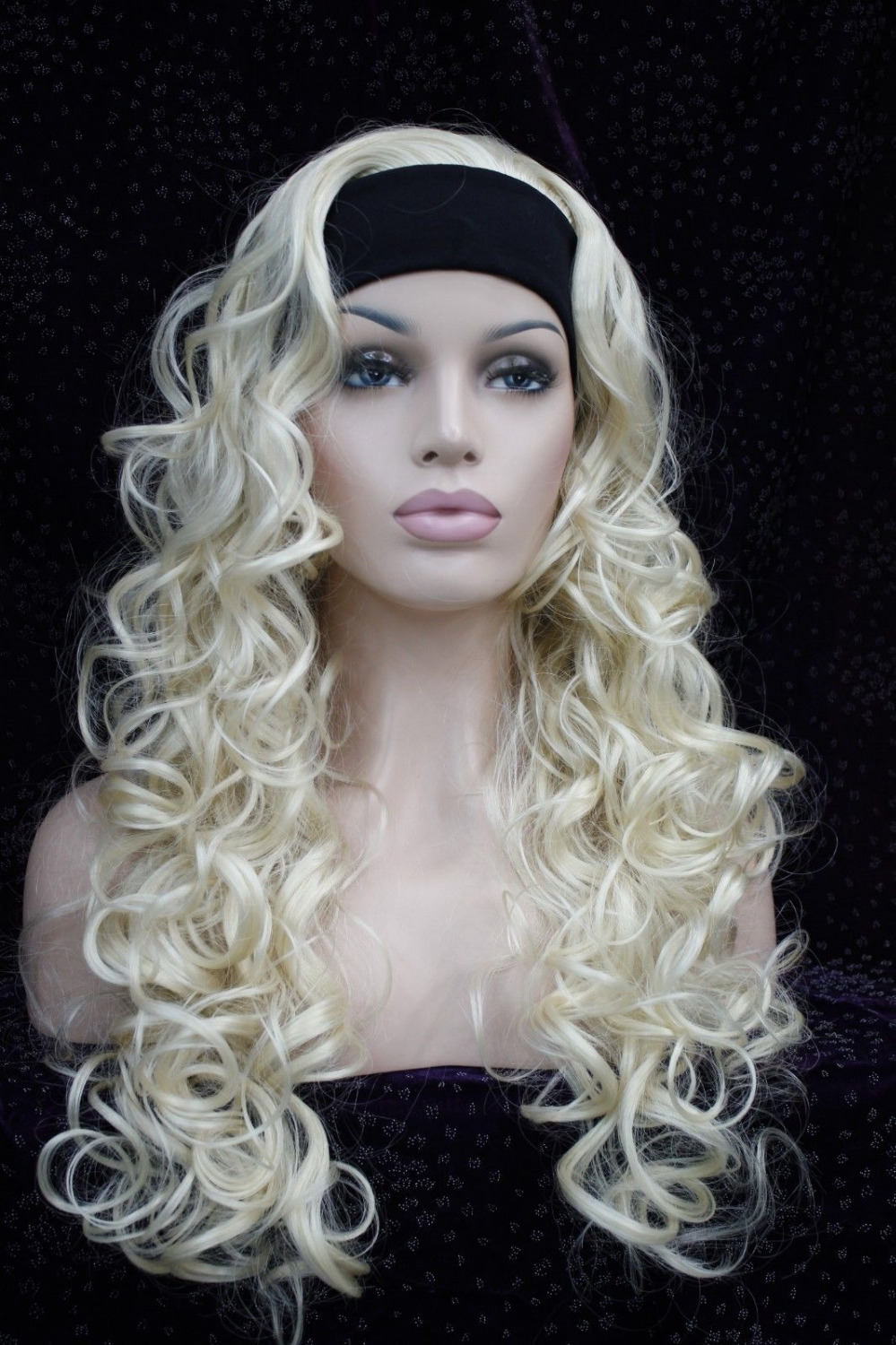 0002177 fashion blonde 3/4 wig with headband curly long synthetic women's half wigs