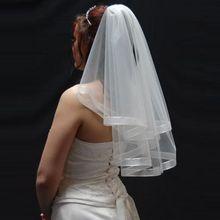 2015 Einfache Elegante Zwei Schichten Band Kante Kurze Brautschleier Günstige Hochzeit Zubehör Brautschleier YY067(China (Mainland))
