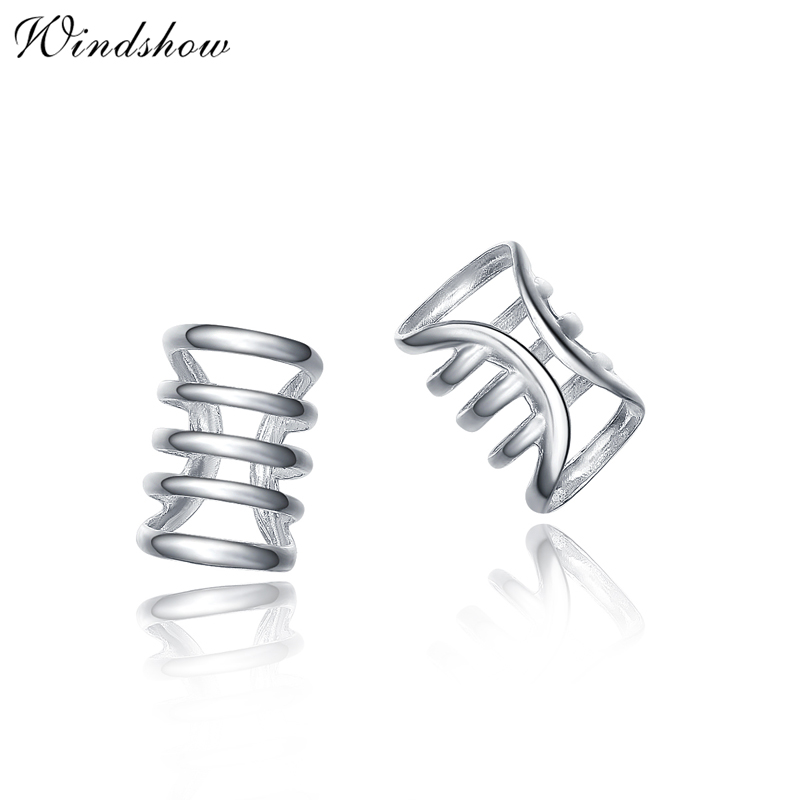 Men Women Real 925 Sterling Silver Punk Hollow Ear Cuff Earrings Jewelry No Piercing-Clip For Party(China (Mainland))
