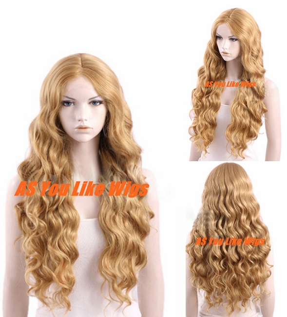 "28"" Women Fashion Wig Queen Hair Products Synthetic Wigs Long Blonde Curly Cosplay Party Wig Peluca Perucke+Free Shipping(China (Mainland))"