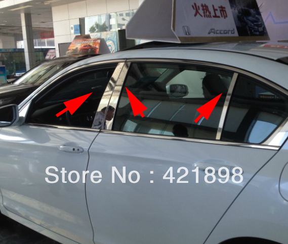 For Honda Accord 2013 2014 2015 2016 Stainless Steel Pillar Post Trim new!(China (Mainland))