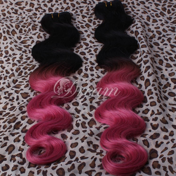 Hot Selling Ombre T2 Fuchsia  Brazilian Virgin Remy Human Hair Weft  8-28 inch Body Wave Good Quality 3pcs/lot  Free Shipping<br><br>Aliexpress