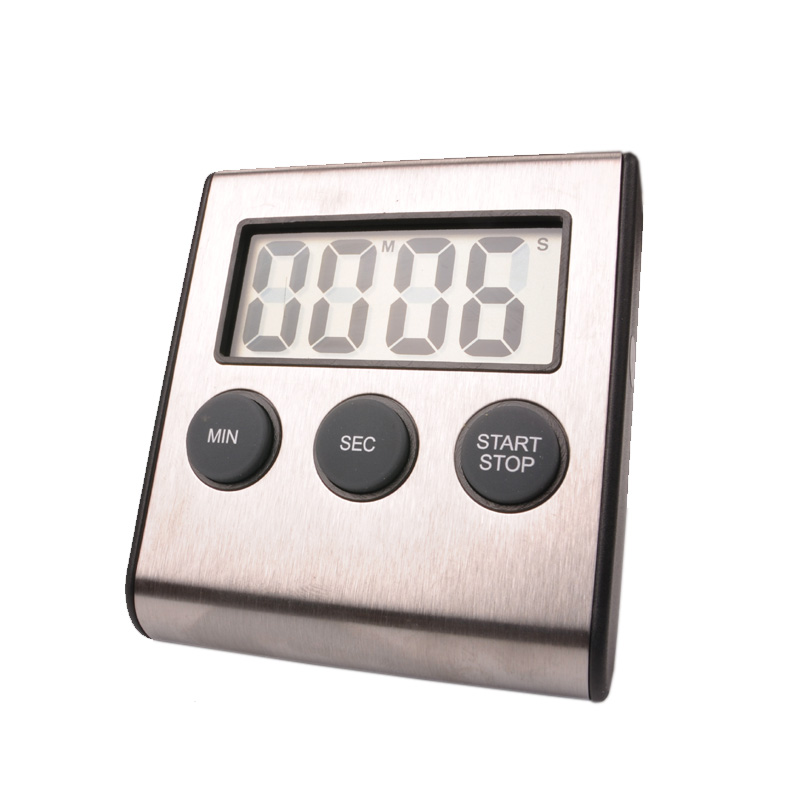 Free shipping, stainless steel kitchen timer, countdown 59 minutes 99 seconds timer, LCD screen kitchen timer(China (Mainland))