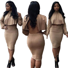 Women Two Piece Outfits Cotton Dress Sexy Blackless Winter Bandage Dress Cloak Back Holllow Out Night Club Bodycon Party Dresses(China (Mainland))