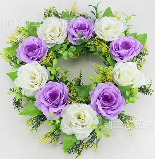 33X33cm Artificial Rose Flowers Wedding Car Decoration Heart Shaped Door Wreaths New Wedding Door Decoration(China (Mainland))