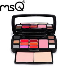 MSQ Brand 15 Color Lipstick Eyeshadow Concealer Makeup Cosmetics Palette Set Brushes, Free Shipping,Wholesale(China (Mainland))