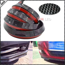 1pc Universal PU  Carbon Fiber Front Bumper Lip Splitter Chin Spoiler Body Kit Trim, 8ft (2.5 Meters)(China (Mainland))