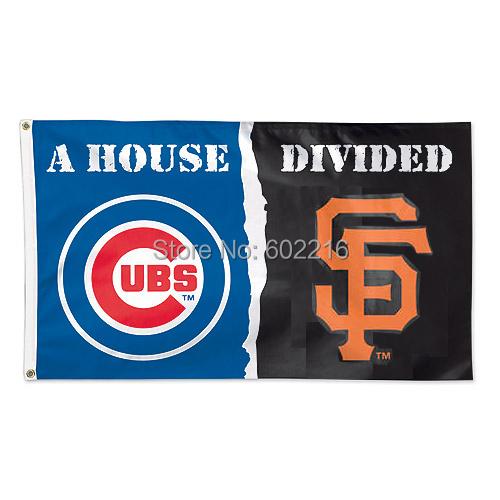 Baseball House Divided Flag Chicago Cubs vs San Francisco Giants SF Logo Flag 3FTX 5FT(China (Mainland))