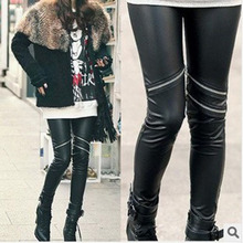 Sexy Fashion Women High Faux Leather Zipper Leggings Stretch  Pant Trousers(China (Mainland))