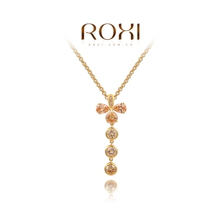 ROXI Princess dinner Necklace 18K Gold plated with AAA zircon,fashion Pure manual mosaic Jewelry,2030803725(China (Mainland))