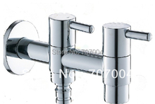 Free Shipping Wholesale and Retail Washing Machine Faucet Chrome Finished Mop Pool Tap Water Tap Dual Spouts(China (Mainland))