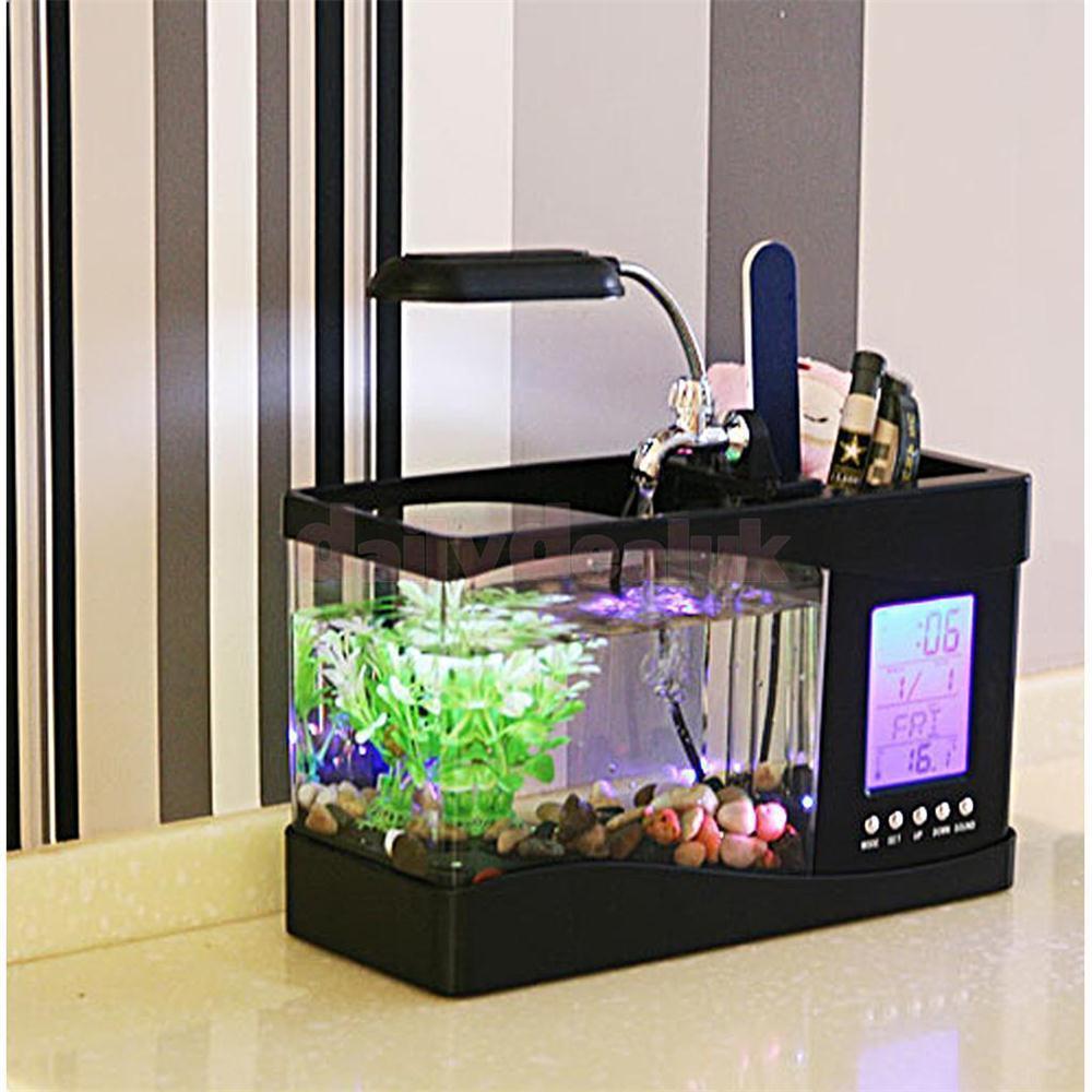 Usb mini aquarium fish tank - 1pc New Cute Usb Desktop Mini Aquarium Fish Tank W Lcd Clock Led Light Holds