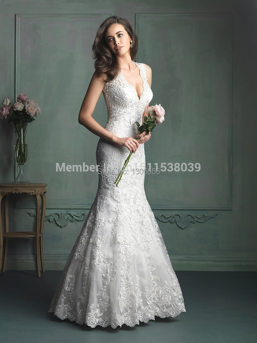 New style 2014 fashion lace white ivory v neck fishtail for White fishtail wedding dress