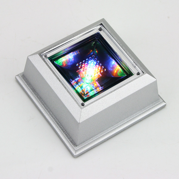 High quality fashion mini 4 LEDs sliver crystal figurine jewelry LED light display stand base case(China (Mainland))