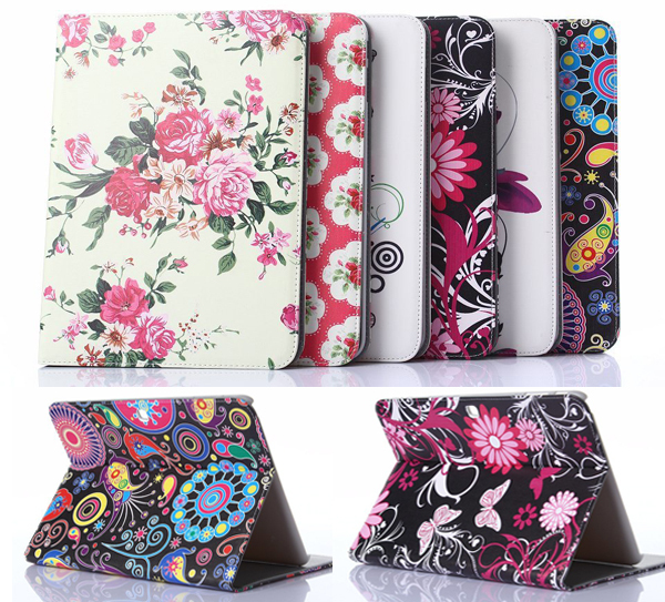 Гаджет  Fashion Flower Series with Card Slot Pu leather stand holder Cover Case For Samsung Galaxy Tab4 Tab 4 T530 t531 10.1