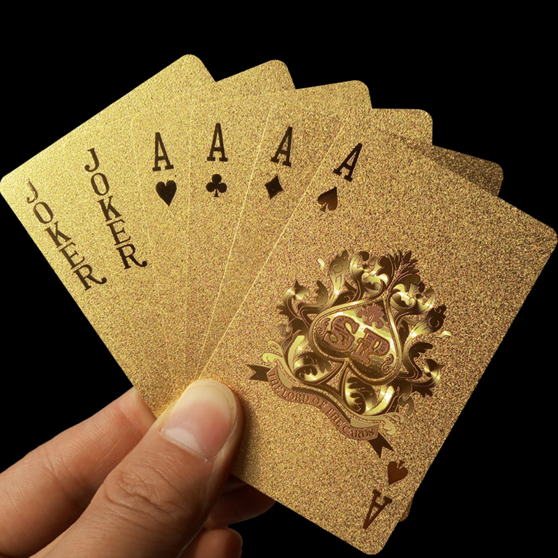 Golden Playing Cards Deck gold foil poker set Magic card 24K Gold Plastic foil poker Durable Waterproof Cards magic81150(China (Mainland))