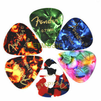 100pcs/lot mix color celluloid guitar pick with logo printing 0.71mm
