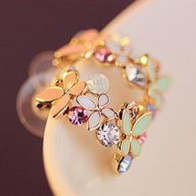 2015 New !!! Hot Fashion Fine Jewelry Gold Rhinestone Colorful Flowers Dazzling C-type Butterfly Stud Earrings For Women E-104(China (Mainland))