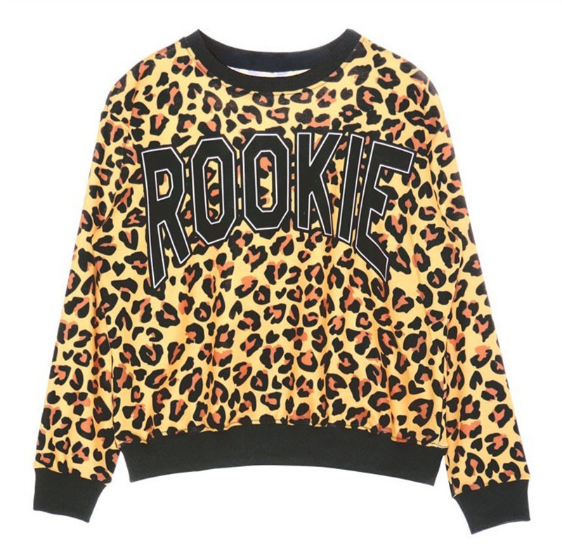 2015 New Latest Autumn Yellow Pink Hoodies Women Sweatshirt Fashion Pullovers Long Sleeve Rookie Print Leopard Casual Pullovers(China (Mainland))