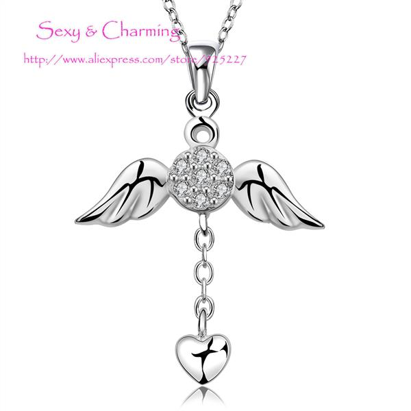 N674 New 925 sterling silver zircon cz diamond creative heart angel necklace Chain&pendant Jewelry Welcome Mixed Wholesale(China (Mainland))