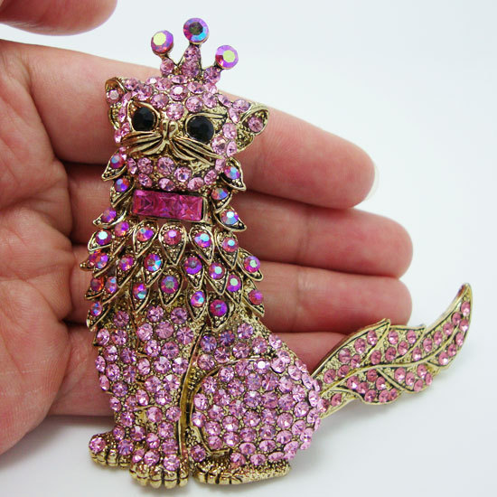 """Details about 4.5"""" Vintage Cat Crown King Pendant Pin Brooch Pink Rhinestone Crystal Animal With Rotatable Tail(China (Mainland))"""