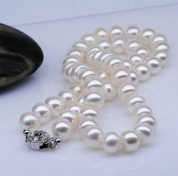 8-9MM Big Size Natural Freshwater Pearl Necklace Fashion Jewelry for Young Beautiful Lady Wholesale, 30pcs/lot+Free Shipping