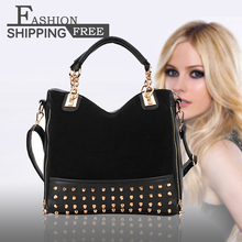 New Fashion Women Stitching Flannel Rivet Studded Shoulder  Messenger Bag Free Shipping