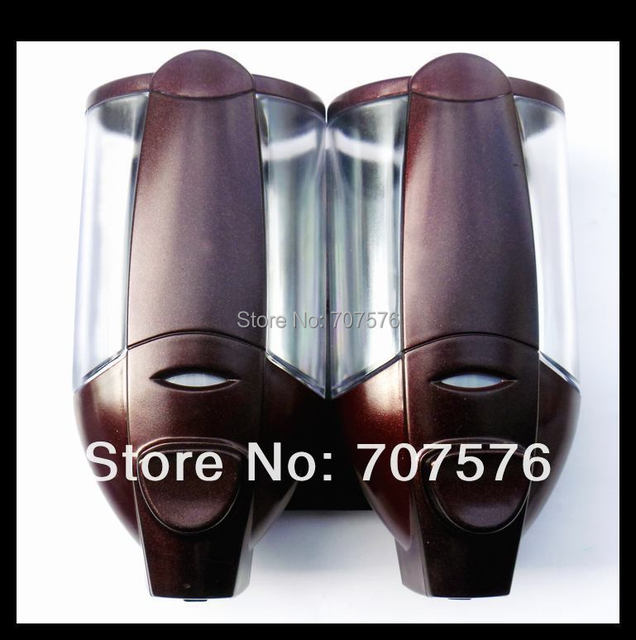 Wholesale + Low Freight 2*350ml Europea Style Hi-Q ABS Manual Double Soap Dispenser Plastic Lotion dispenser TSD2012R Wine red