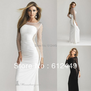 Elegant Square Neck Hollow Lace Beading Long Sleeve White Evening and Party Gown Charming Prom Dresses New Fashion 2013