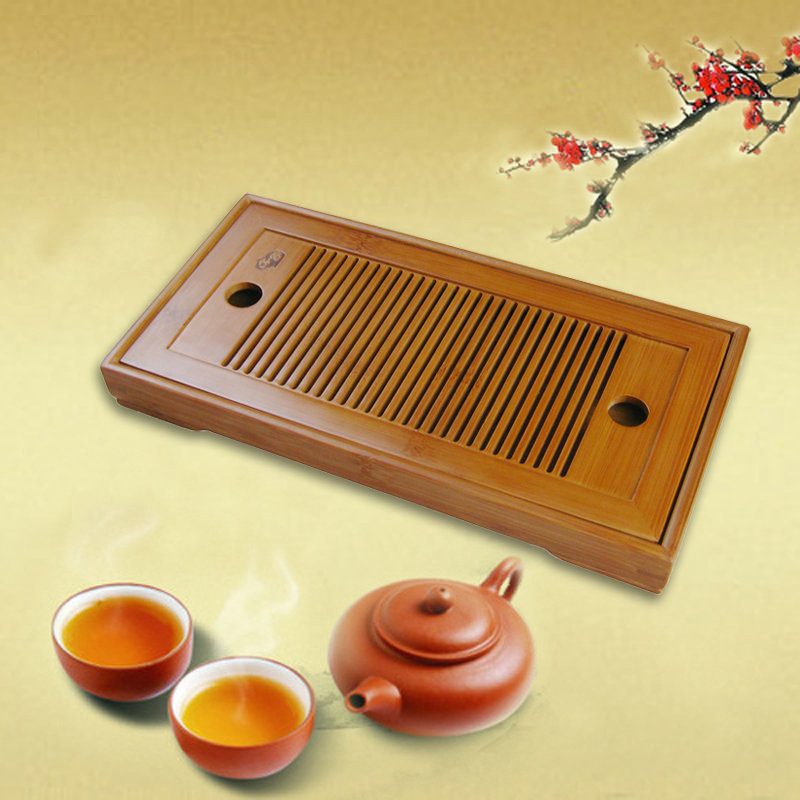 Natural bamboo tea tray small tea tabale kung fu tea tray 2 pcs set for personal