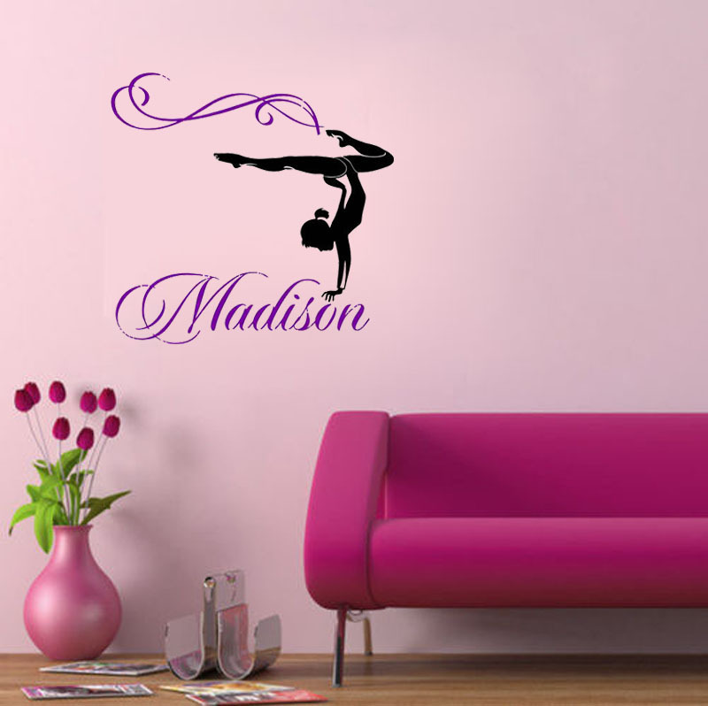 Personalized Girl Name Gymnast Gymnastics Dance Dancing wall decals quote  nursery wall decal wall sticker girl
