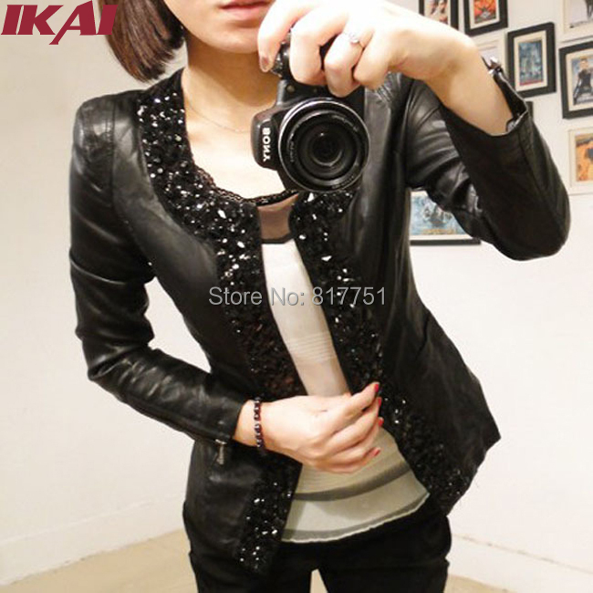 Women pu Leather Jacket Autumn