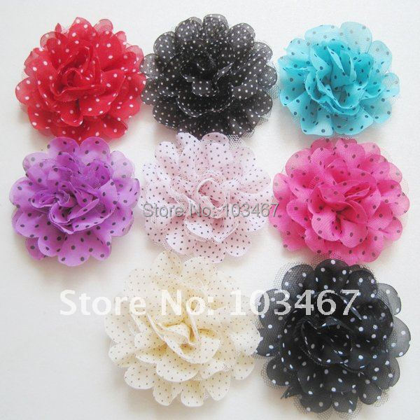 50pcs/lot Wholesale 4'' Chiffon Flowers New Arrival Nice Cheap Cloth Flower Mix Colors