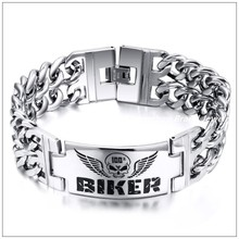 """Buy 9"""" 23mm New Punk 316L Stainless Steel Silver Double Curb Chain Biker Skull ID Bracelet Bangle Mens Jewelry Fade Gothic Style for $8.90 in AliExpress store"""