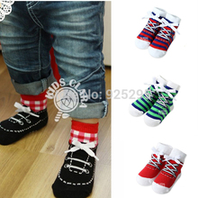 Kids Baby Socks Cotton Shoelaces Style Anti Slip Short Socks 0-4Y QL