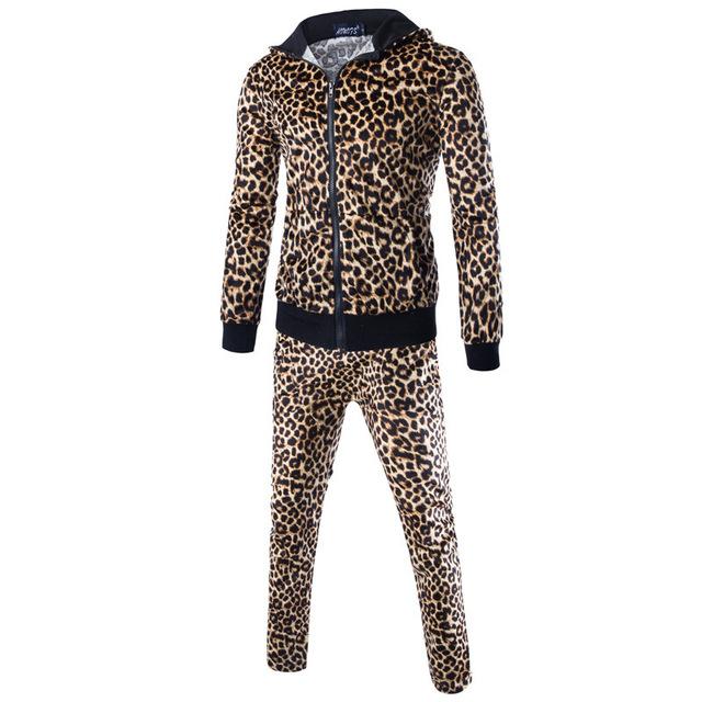 Костюмы мужские хлопок леопардовый принт толстовка мужчины куртка толстовка спорт ...