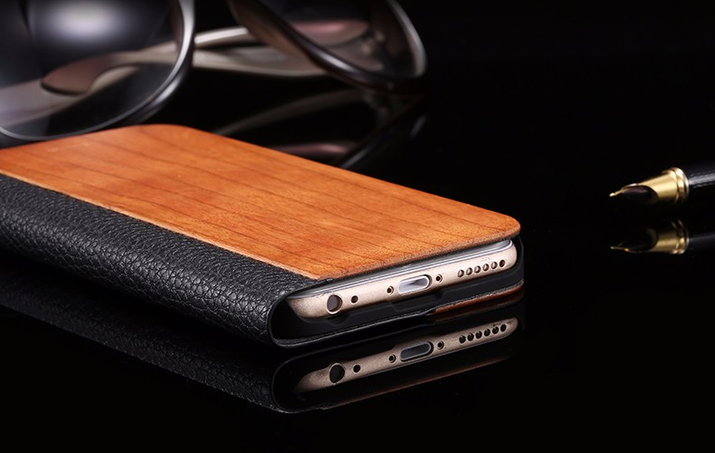 Vintage Genuine Bamboo Wood Flip Leathe Case For iPhone 6 6S Plus Real Rosewood Wooden Wallet Cover For iPhone 7 7 Plus Card Slot  (18)