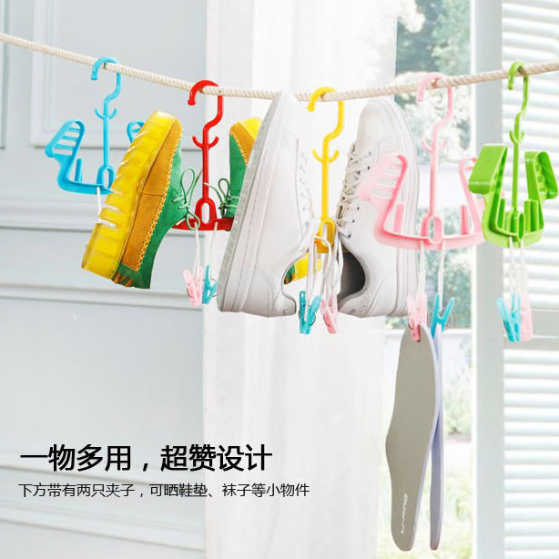 2016 Hot Sale Limited Cintre Hangers 276 Candy Color Multifunction Drying Shoe Rack Hanging Portable Hanger With Clips(China (Mainland))