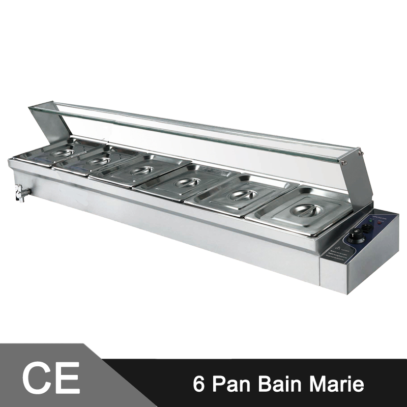 CUSTOMIZED LARGE 6 X 1/2' Pan Stainless Steel Electric Bain Marie With Glass Sneeze(China (Mainland))