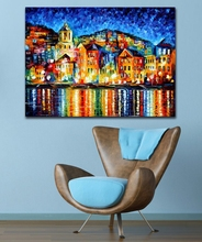 Buy 100% Hand-painted Palette Knife Painting Attractive City Harbor Night Canvas Painting Living Room Home Decor Art Frame for $20.90 in AliExpress store